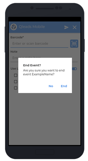 Event Leads confirmation screen