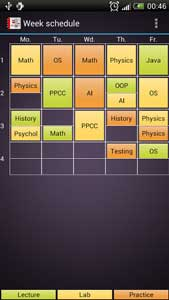 Study Time week schedule